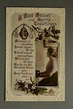 R&L Postcard: Happy Christmas, Decoration, Lady Playing Piano