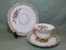 Vintage rosina bone china trio tasse thé patt. 3169 pink rose & doré (lot b)