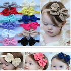 6X Baby Girls Puffy Bow Hairband Soft Elastic Headband Hair Accessories Band