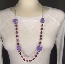 "Purple Silver tone chain link chunky beads beaded statement necklace 32"" long"