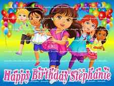 DORA AND FRIENDS: personalized Edible Image Cake Topper  FREE SHIPPING