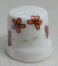 Vintage Collectible Souvenir Thimble Porcelain Four Orange Flowers