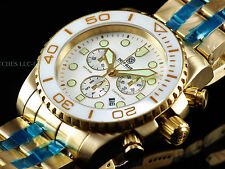 NEW Deep Blue Sea Ram Sapphire Screw Down Chrono Gold Tone SS 500M Diver Watch