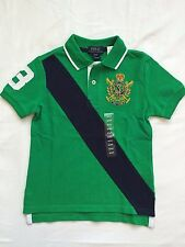 NWT Boy's Polo Ralph Lauren SS Polo Shirt Green / Navy / 6t