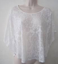 EXPRESS BAT SLEEVES BURN-OUT SEMI SHEER LOOSE FIT TUNIC TOP - CREAM - SIZE XS