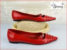SHINING Chaussures Taille 39 Cuir Rouge Coquelicot !