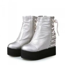 Hot Womens Punk Hidden Wedge Heels Ankle Boots Platform Lace Up Shoes Strappy sz