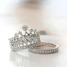 Fine Quality Queen Party All-match Sweet Diamond Crown Molding Ring Two Sets New