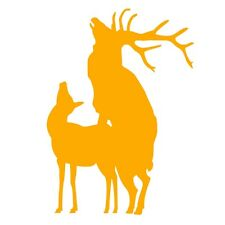ELK MATING Funny Hunting Joke Car Caravan Campervan Vinyl Decal Sticker Yellow