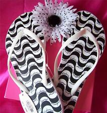 NWT Victoria's Secret Supermodel Essentials Black & White Sandals Flip Flops *S*