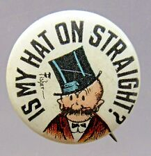1910 Bud Fisher MUTT & JEFF Is My Hat Straight Hassan Cigarettes pinback button*