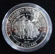 1994 SILVER PROOF NAURU $10 COIN + COA THE QUEEN MOTHER BOMB DAMAGE ROYAL MINT