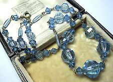 Pretty VINTAGE Old Antique ART DECO BLUE GLASS Crystal BEAD Jewellery NECKLACE