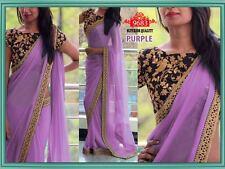 Bollywood Indian Designer Party Wear Saree Sari Wedding Purple Pakistani Saree