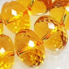 12mm Abacus Faceted Citrine Crystal Roundel Gemstone Loose Beads 14pc