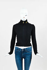 Versace Jeans Couture Black Wool Mohair Trim Ribbed Long Sleeve Zip Sweater SZ S