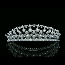 Bridal Wedding Pageant Rhinestones Crystal Pearls Silver Crown Tiara 7396