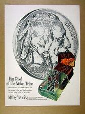 1955 Mars Milky Way candy bar buffalo indian head nickel art vintage print Ad
