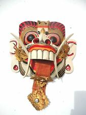 vintage  Indonesian Bali Tribal Wood Mask of Rangda Demon Queen. Colorful color