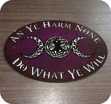 Wiccan Rede Witch Pagan Door Signs/ Plaques Plastic Beltane