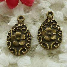 free ship 195 pieces bronze plated flower charms 21x12mm #3345