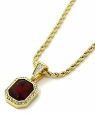 Mens 14K Yellow Gold Plated 24in Mini Sandblast Red Ruby 3mm Rope Chain Necklace