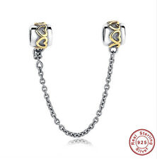 925 Sterling Silver and Gold Safety Chain (Bracelet Charm Necklace Pandora)