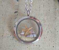 Floating Living Locket Ocean Beach sand Necklace Genuine Sea Star shell Pendant