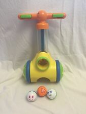 Tomy Pic 'N Pop Walk Behind Ball Popper Blaster w/ 3 Balls Toddler Toy GUC