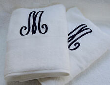 MONOGRAMMED 2 WHITE BATH TOWELS SET/FROM GRANDEUR HOSPITALITY / 100%COTTON