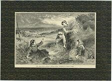 ANTIQUE AESTHETIC FARM FARMER GIRLS HAY FIELD HARVEST AUTUMN W/ MATTE OLD PRINT