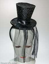 Top Hat Mini Black Sequin Top Hat With Headband Victorian Era Novelty Hat