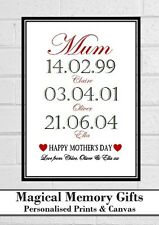 "Mothers day mum mummy nanna grandma our story personalised print gift 7"" x 5"""
