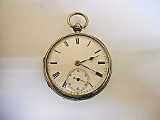 Vintage Silver English Fusee Key Wind/Key Set Pocket Watch. Runs