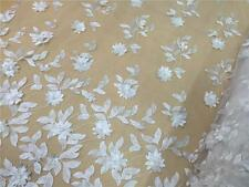 "51"" 3D Off White Bridal Lace Fabric Pearls Corded Embroidery Wedding Lace 1/2 Y"