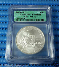2006-P US Benjamin Franklin Founding Father $1 Silver Commemorative Coin ICGMS70