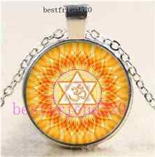 Om Magic Circle Photo Cabochon Glass Silver Chain Pendant Necklace