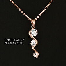 Classic Cubic Zircon Pendant Necklace Short Chain 18K Rose Gold Plated Xl618