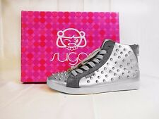 SUGAR KIDS Orbic Fashion Studded High Top Sneaker Silver 6 M US *REDUCED 80% OFF