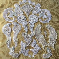 Lot of Vintage Style Beaded Wedding Appliques, Sequins, Pearls, Mirror Sets