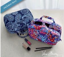 VERA BRADLEY Grand Cosmetic BLUE BANDANA Makeup Bag Purse Tote Lined Travel $42