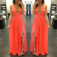 UK12-14 Long Women Maxi Evening Party Formal Bridesmaid Prom Gown Dress Beach 2