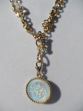 Signed KIRKS FOLLY 'Love Never Dies' Angel Pendant Crystal Bead Necklace Gold Tn