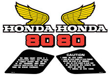 1984 Honda XR 80 Gas Tank, Side Panel and Warning Label Decal Set 6 pieces