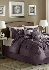 King Size Comforter Pillow Set 7 Piece Plum Purple Multi Color Elegant  Bedroom