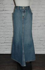 Lucky Brand Denim Skirt MODEST Long Mermaid NO SLIT Maxi Jeans Size 8 NICE #14