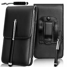 Black Vertical PU Leather Belt Pouch Holster Set For Samsung Galaxy S6