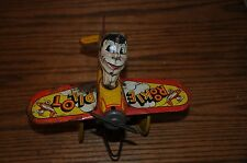 VINTAGE MARX ROOKIE PILOT TIN WIND UP AIRPLANE TOY  ANTIQUE WIND-UP TOY PLANE  .