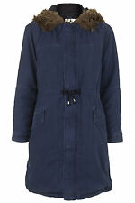 Topshop MOTO Faux Fur Trim Parka Jacket - Indigo - UK 4/EU 32 - RRP £79 - New