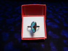 Sterling Silver Ring with Rare Australian Solid Boulder Opal.Size 6 1/2-M (#M27)